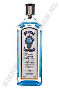 Bombay Saphire gin. Literfles.